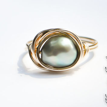 Gray Green Baroque Freshwater Pearl Estate Style Ring, 14gold filled, Evergreen, Grayed Jade, For Her