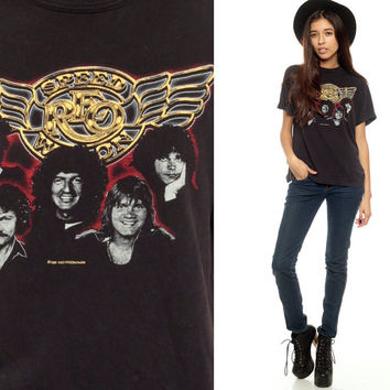 REO Speedwagon Shirt 80s Band Tee Black tshirt 1980s Concert Rock Band t shirt 1982 Vintage Rock n Roll Rocker 80s Small