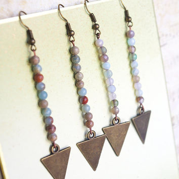 Arrow earrings, Contemporary jewelry, Arrowhead earrings, Brown, Arrowhead,modern, Earth tone, Arrow charm, Jasper or Agate, Best Etsy Shop