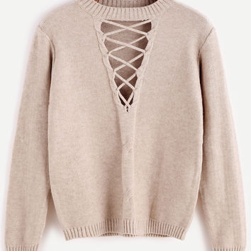 Coffee Cutout Lace Up Knit Sweater