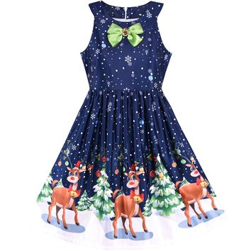 Girls Dress Chirstmas Eve Christmas Tree Snow Reindeer Party 2018 Summer Princess Wedding Dresses Children Clothes Size 7-14