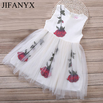 JIFANYX Girls Lace Rose Embroidered Dresses Summer Floral Flower Baby Girls Party Wedding Dress Fille Robe Princess Rose Dress