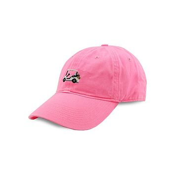 Golf Cart Needlepoint Hat in Pink by Smathers & Branson