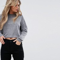 New Look Long Sleeve Jersey Crop T-Shirt at asos.com