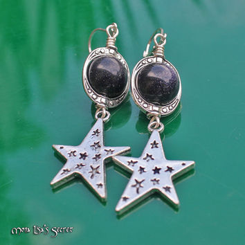 Star Earrinngs, Dangle Blue Goldstone Earrings, Galaxy Earrings, Planet and Star Earrings, Blue Goldstone Jewelry, Christmas Gift