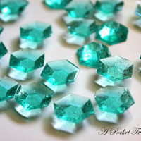 125 MINECRAFT DIAMONDS Turquoise Teal Blue Edible Sugar Jewels Barley Sugar Hard Candy 6.5 oz