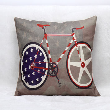 European Vintage Printed Pillow Case USA Cycling Cushion Cotton linen Cover Square 45X45CM