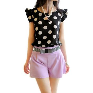Women's Butterfly Sleeve Chiffon Polka Dot  Blouse