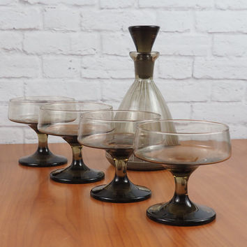 Mid Century Modern Smoked Glass Decanter Set // Libby Tawny Accent Sherbet Glasses with Striped Liquor Decanter // Retro Madmen Barware