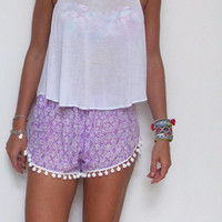 Pom Pom Shorts - Lilac and White pattern with White Pom Pom Trim - lightweight chiffon