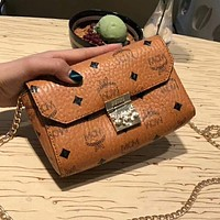 MCM Stylish Women Shopping Bag Leather Tote Metal Chain Handbag Crossbody Satchel Wallet Purse I-AGG-CZDL