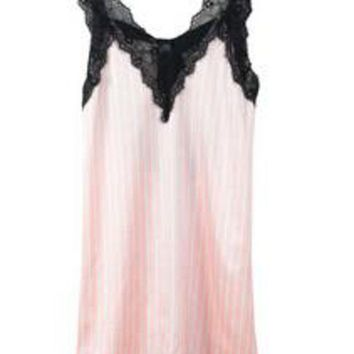 VONG2W 2015 New Pink Striped Suspender Skirt Sleepwear Charming Women's Robes Sexy Black Lace Lingerie Night Gown One Size
