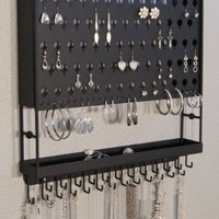 Wall Earring Holder Necklace Rack Jewelry Storage Closet Organizer w/Tray (Accessory Angel Black)