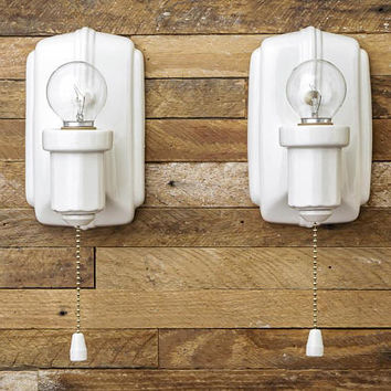 Gorgeous Vintage Rewired Porcelain Ceramic Wall Lights Sconces Pair White Milk Glass Shades Bathroom Vanity Brass Art Deco Pull Chain