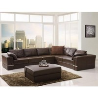 Tosh Furniture Modern Leather Sectional Sofa and Ottoman | Modern Furniture Warehouse