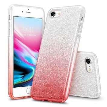 LMFGQ6 iPhone 8 Case, iPhone 7 Case, ESR Glitter Sparkle Bling Case [Three Layer] [Supports Wireless Charging] for Apple 4.7' iPhone 8 /iPhone 7(Ombre Red)