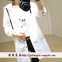 Korean fashion casual windbreaker jacket and long sections letters