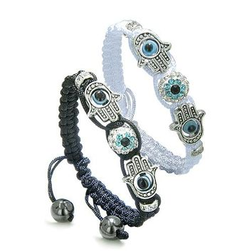 Magic Evil Eye Protection Love Couple or Best Friends Hamsa Hands Amulet Set Black White Bracelets