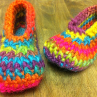 Children Slipper, colorful knit Slippers, girls slippers, kids knit socks,