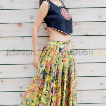 Long Silk Pleated Skirt with Matching Crop Top