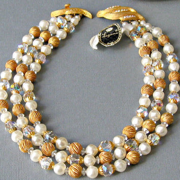 Vintage Laguna Crystal and Pearl Triple Strand Necklace