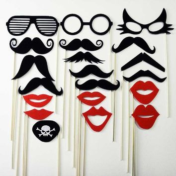 Mustache on a Stick Wedding Party Photo Booth Prop Mask 20 Piece Set - 10 Mustaches , 3 Eye Glasses , 6 Lips and 1 Skull and Crossbones Pirate Eye Patch