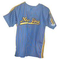 Vintage Blue Marlin Five Star New York Sport Jersey Button Up Shirt Large 14 16 No 35 NY NYC Big Apple Baseball Jersey Athletic Apparel Gift
