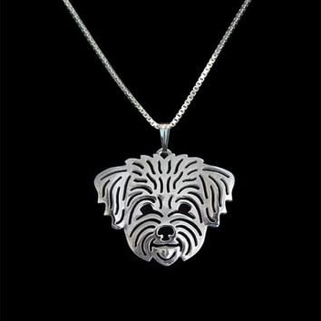 Gold Silver Color Maltese (in puppy/pet haircut) - Gold pendant and necklace Hunger Games Necklace Women Best Friend Choker