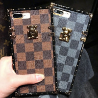 LV iPhoneX mobile phone shell iPhone7 plus hang rope luxury online lovers' big name shake.