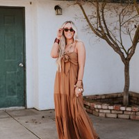 Anastasia Tie Front Tiered Maxi Dress - Camel