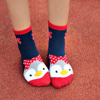 5-Pack:Kawaii Cute Penguin Warm Socks with Polka Dot Bows, Women Socks, Animal Socks, Knee Socks, Leggings, Lace Socks, Slip Socks, Kawaii