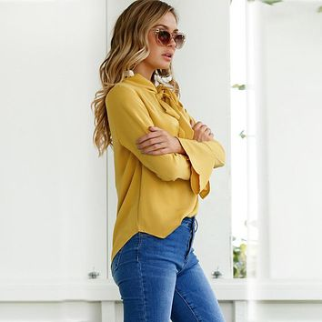Long Sleeve Yellow Women's Flare Blouse