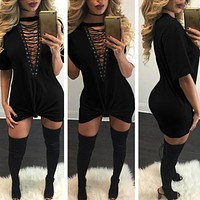 """New York Minute"" lace up tshirt dress"