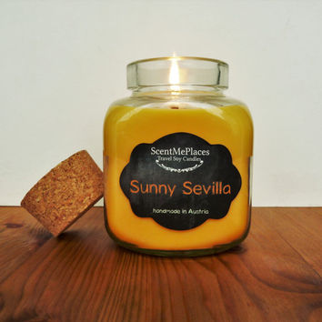 Scented Soy Candle, jar candle, mason jar candle, scented soy wax, home decor, spain, soy candle, home decor yellow, natural candle, vegan