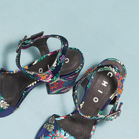 Chio Brocade Block Heel Sandals