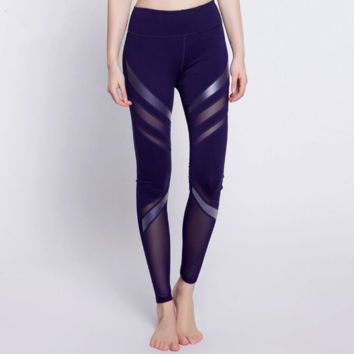 2017 Summer Thin PU Leather Piano Running Fitness Yoga Pants Quick-Drying High Elastic Tight Sports Leggings Female