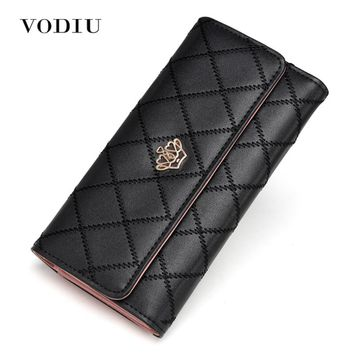 2017 Cute Crown Luxury Trifold Plaid Leather Women Brand Long Wallet Wristlet Female Clutch Purse Phone Coin Card Holder Cuzdan