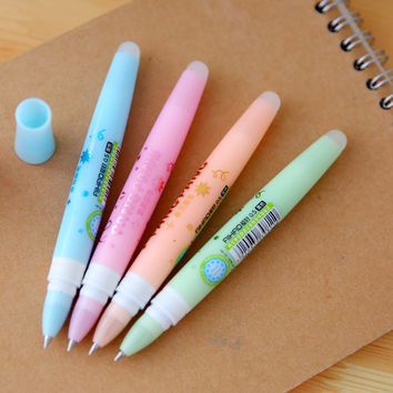 1 Pcs 0.5mm Cute Kawaii Aihao Eraserble Gel Pens Black Blue Ink With Gel Pen Erasers Kids School Office Supplies Stationery