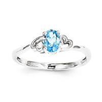 Sterling Silver Swiss Blue Topaz Double Heart December Birthstone Ring