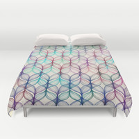 Mermaid's Braids - a colored pencil pattern Duvet Cover by Micklyn