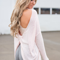Leave You Lonely Backless Twist Top (Pink)