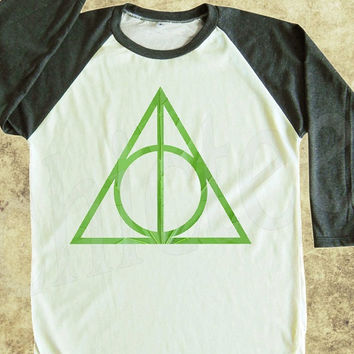 Deathly Hallows tshirt women tshirt men tshirt raglan tee baseball shirt 3/4 long sleeve t shirt size S M L