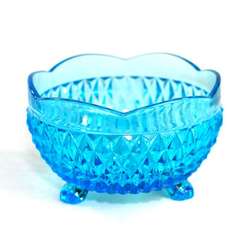 "Aqua Blue Glass Bowl - Diamont Point Pattern by Indiana Glass Company ""3 Toed"" Model, Footed Candy or Trinket Dish - Vintage Home Decor"
