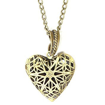 Heart Filigree Cage Locket Necklace Vintage Antique Gold Tone NO09 Pendant Fashion Jewelry