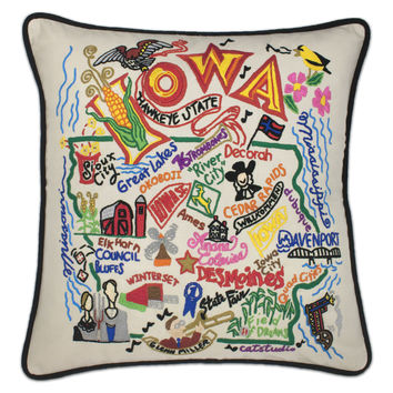 Iowa Hand Embroidered Pillow