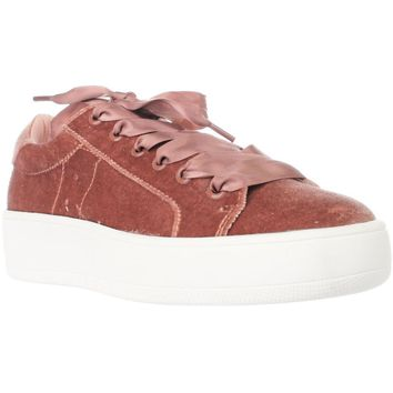 Steve Madden Bertie Platform Lace Up Sneakers, Blush, 7.5 US