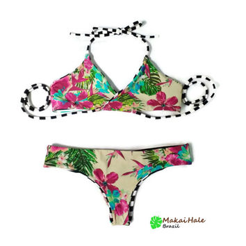 Brazilian Bikini - Floral Bathing Suit - Reversible bathing suit - Stripe Bathing suit - Seamless bikini set -  Wrap Bikini - Cheeky bikini