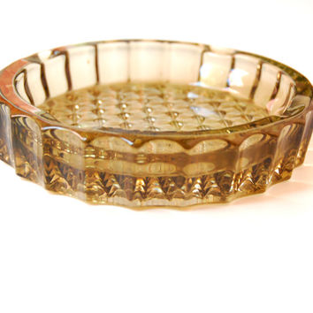 Stylish Vintage Pressed Smoke Glass Ashtray