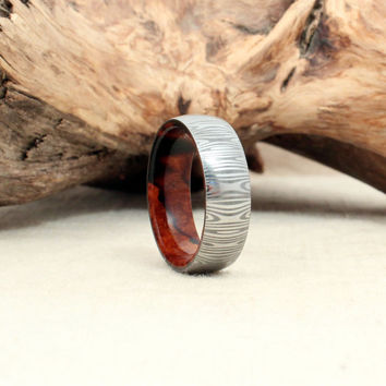 Damascus Steel and Wood Ring - Arizona Desert Ironwood Burl Wooden Ring Damascus Steel Ring
