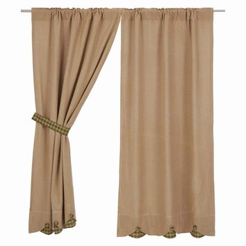Burlap with Green Check Short Panel Curtains